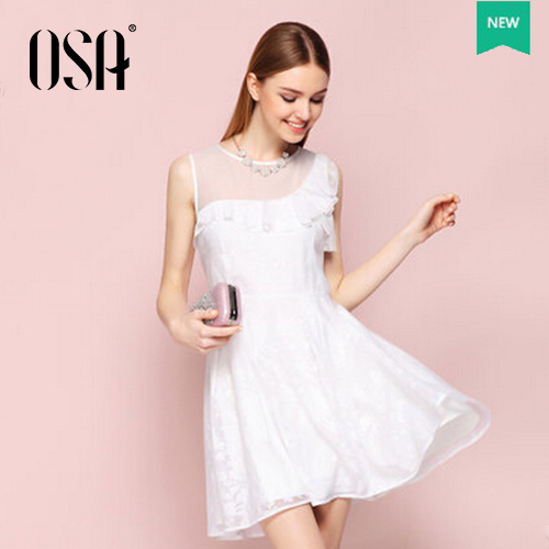 OSA 2015 Women Fashion Stylish Tunic Short Dress High Waist Sleeve less Dress For Women Round Neck Dress SL523029(China (Mainland))