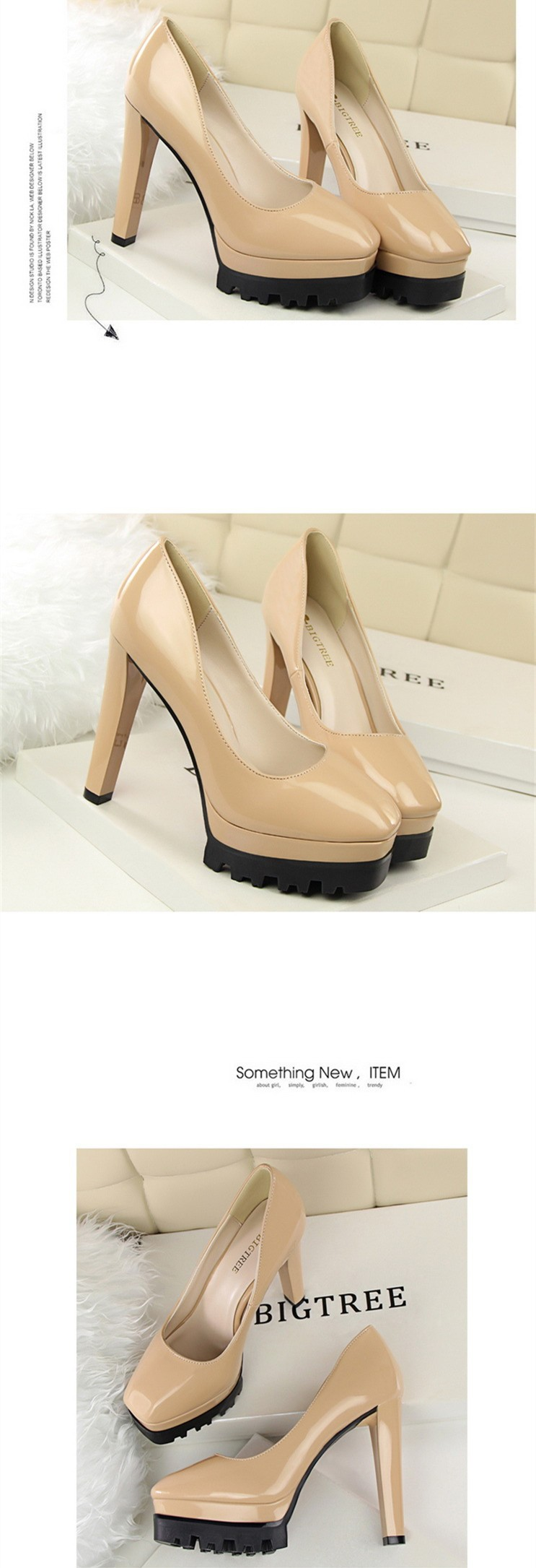 Size 4~8 New Arrival Autumn Women Shoes Round Toe Nude High Heels Shoes 2016 Women Pumps zapatos mujer (Check Foot Length)