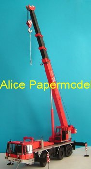 [Alice papermodel] Long 50CM 1:25 Red crane engineering equipment truck car models