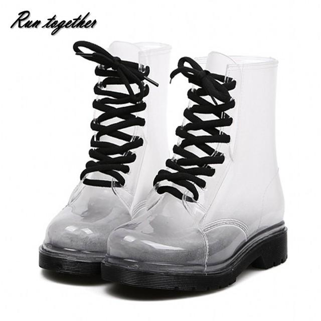 Бесплатная доставка новинка женские сапоги дождь конфеты прозрачный на низком каблуке обувь для женщин ретро мартин дождь сапоги