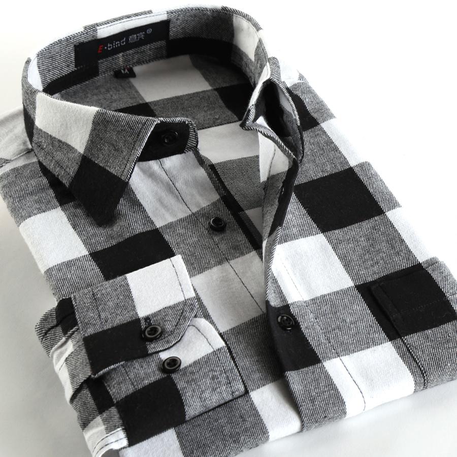 Stylish Fashion Casual Black White Plaid Mens Long Sleeve