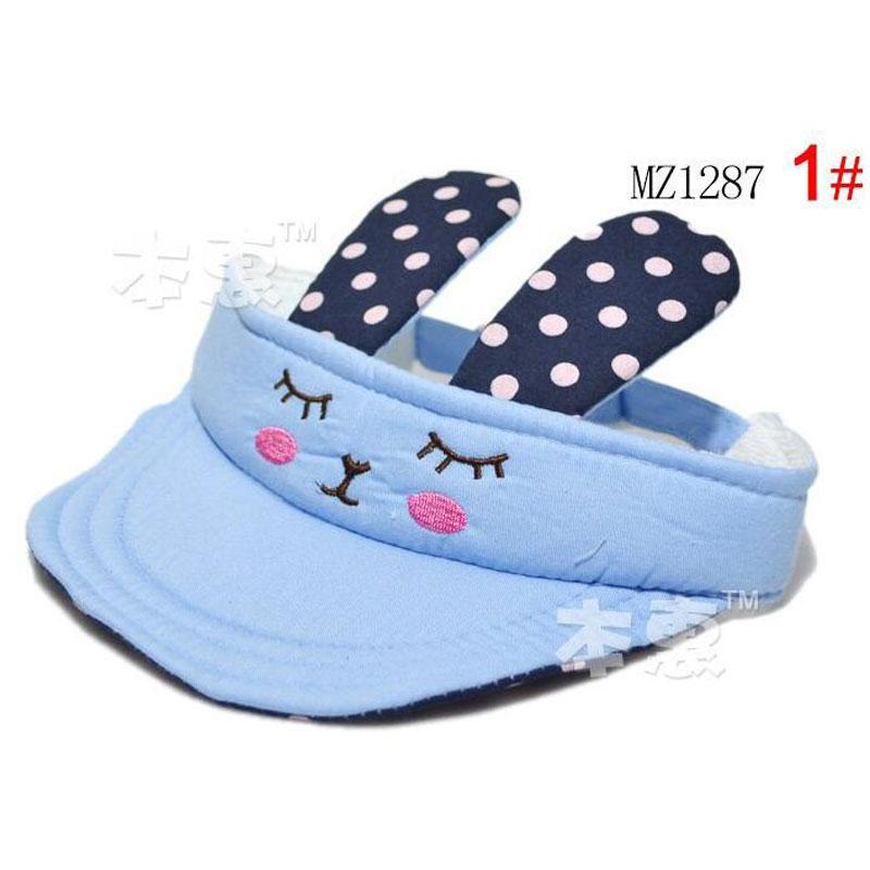 Hot sale Cute rabbit ear Child Sun Visor Cap Hat Baby Sunbonnet Without Cap Infant hat 1~6 months 4 color MZ1287 (5pieces/lot)(China (Mainland))