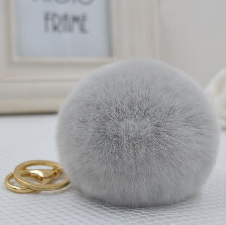 8 cm New key chain Rabbit fur ball keychain fur keychain Fur Ball Key ring chain cubre llaves fur keychain gift jewelry pompon(China (Mainland))