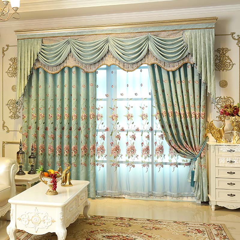 Buy high quality european embroidered for Living room valances