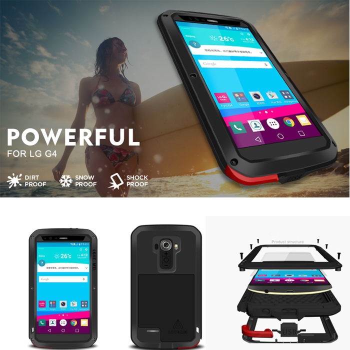 LOVE MEI G4 for LG G4 Phone cases Powerful life Waterproof Shock / Dirt proof Metal Aluminum cover case with Gorilla glass capa(China (Mainland))