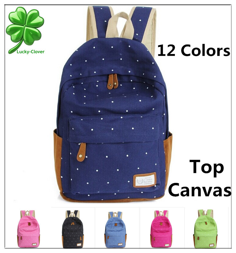 12 color Cute Korean style double Shoulder book Bags fashion girls women canvas Dots schoolbag middle
