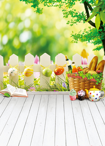 Easter Eggs Pinic Basket Children Wedding Vinyl Backdrops for Photography 5X7ft Backgrounds for Photo Studio Decor(China (Mainland))