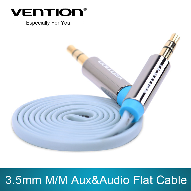 Vention! Speaker Cable in 0.75m/1m/1.5m/2m/3m Flat Audio AUX Cable 3.5mm Stereo Audio Cable For Car /PC/iPod(China (Mainland))