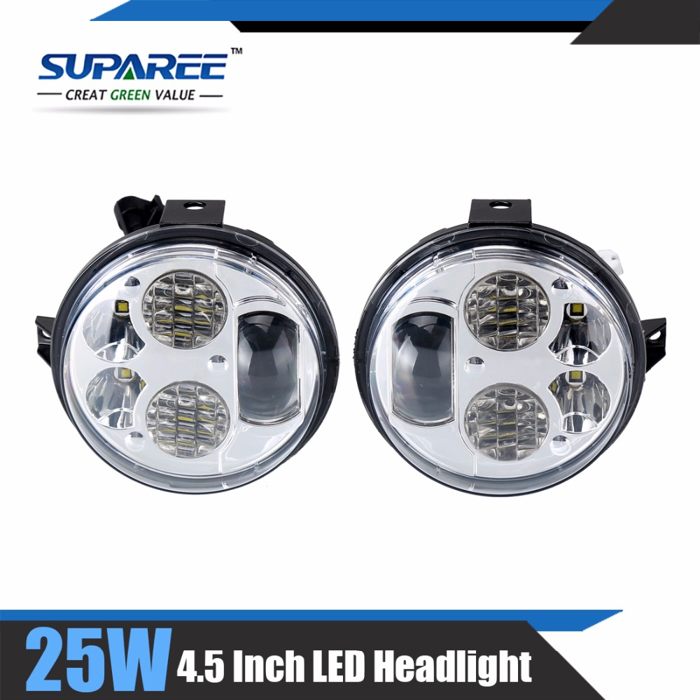 2016 car styling KAWASAKI BRUTE FORCE 750 LED HEADLIGHTS 4.5 Inch Hi/Low Beam High 25W Low 15W LED Head Lamp For Jeep For suvs(China (Mainland))