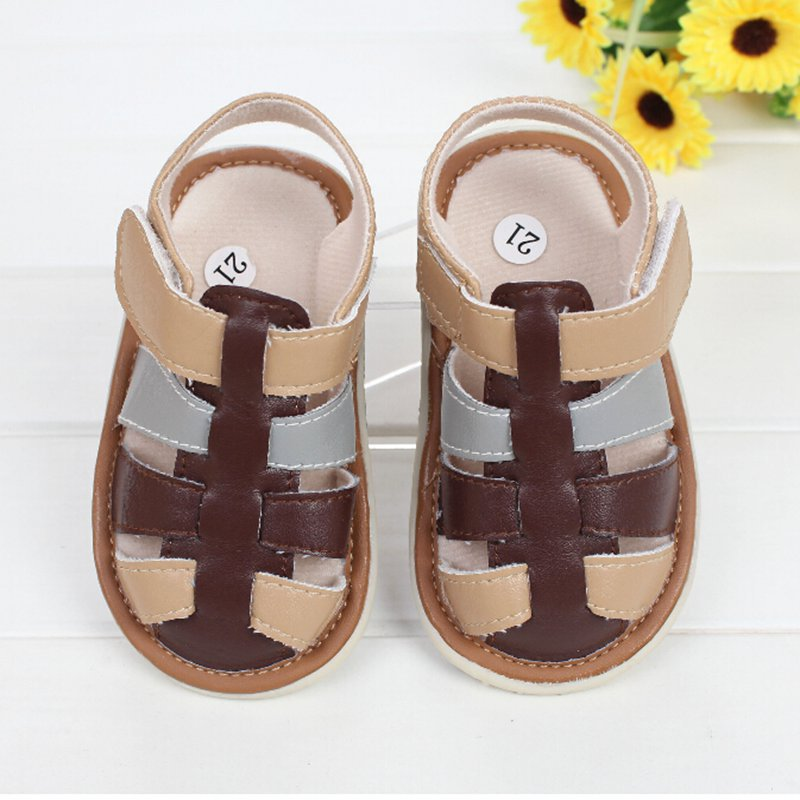 2014 New Baby Boy Prewalker Shoes Patch Soft Sole Summer Sandals Kids Bebe Handmade Outdoor Footwear Infant(China (Mainland))