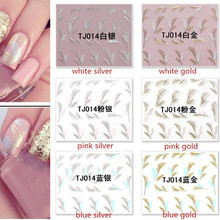 1 Sheet Fashion Gold Silver 3D Feather Nail Art Stickers Decals Nail Art Tip DIY Decoration Beauty Nail Accessories TJ014