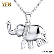 YFN 2016 Fashion Jewelry 925 Sterling Silver Elephant Necklace Top Quality CZ Crystal Pendant Necklace For Women GNX0456(China (Mainland))