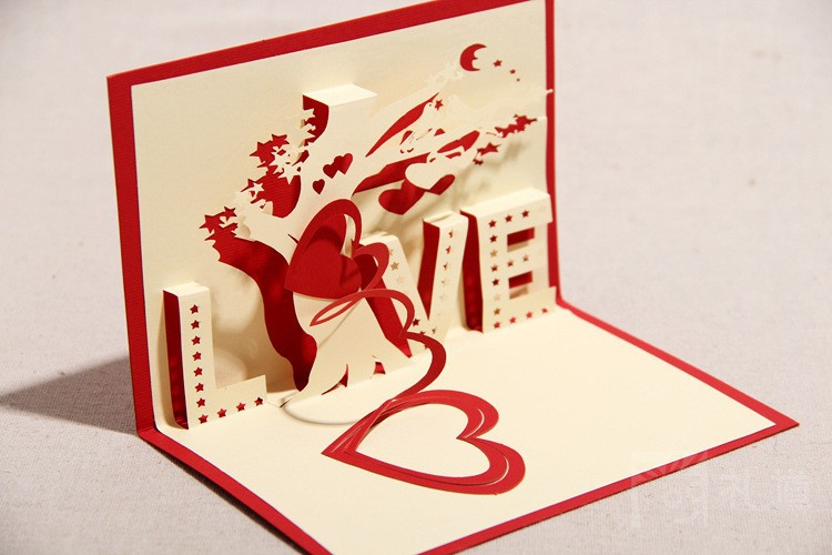 valentines day love you thank you 3d greeting cute gift postcards vintage samples free shipping wedding table card(China (Mainland))