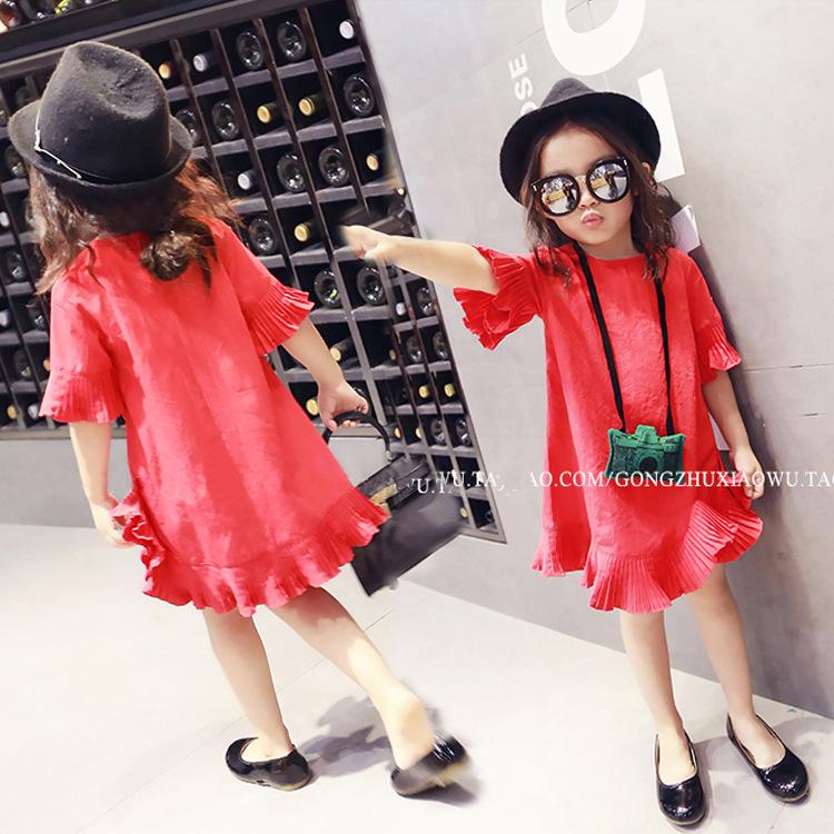 2016 new summer dress Korean children short sleeved flounce princess dress baby A word dress Free Shipping Free Shipping(China (Mainland))