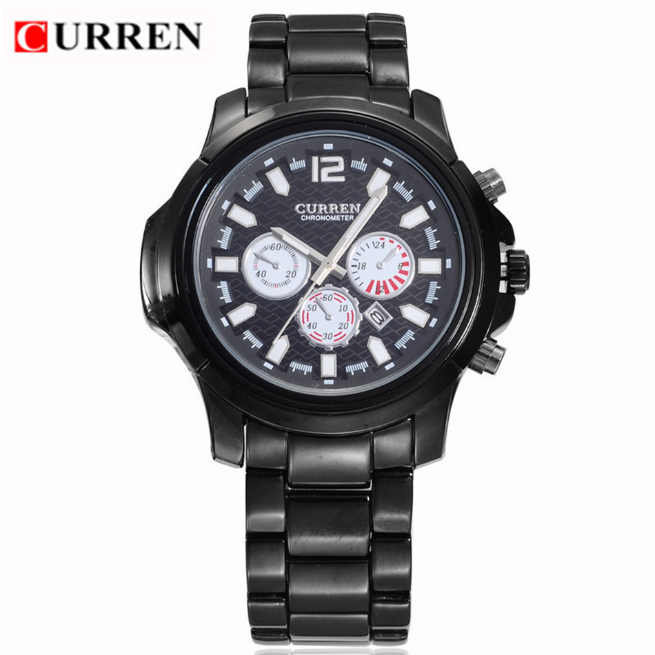 hot curren brand business stainless steel watches auto. Black Bedroom Furniture Sets. Home Design Ideas