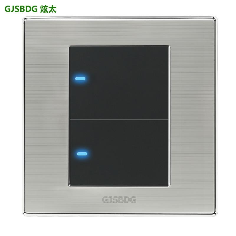 High Quality 1pcs 2 Gang 2Way GJSBDG Luxury Wall Switch Panel Light Switch Push Button LED Indicator 250V 10A(China (Mainland))