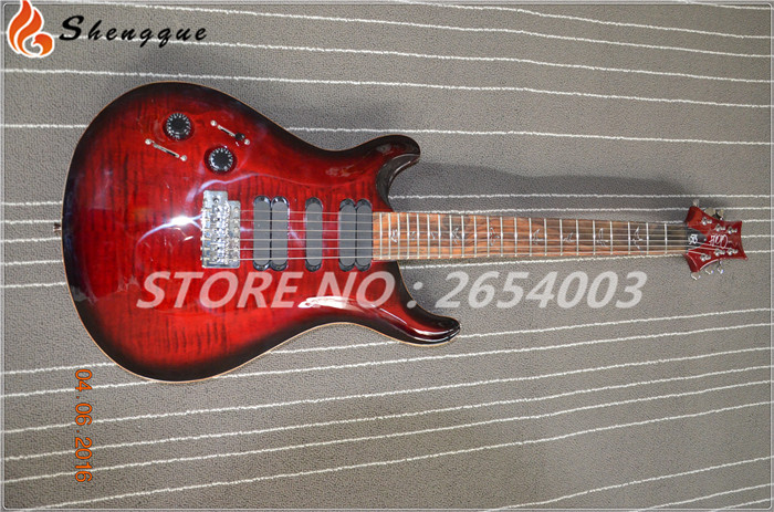 shengque custom solid flame maple top PRS style lefty hand electric guitar PRS maple binding guitar electric(China (Mainland))