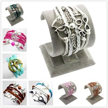 Multilayer Weave PU Braid Leather Elephant Owls Hunger Game Infinity Wing Airplane Heart Love Charm Wristband Bangle Bracelet