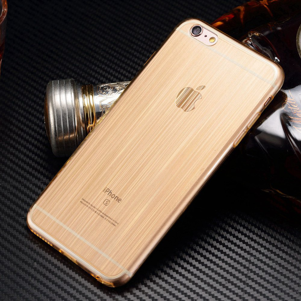 20pcs/lot Gold Brushed Bling Bling TPU Silicone Case Skin for iPhone 6 iPhone 6S Soft Transparent Slim Fitted Cover Bag(China (Mainland))