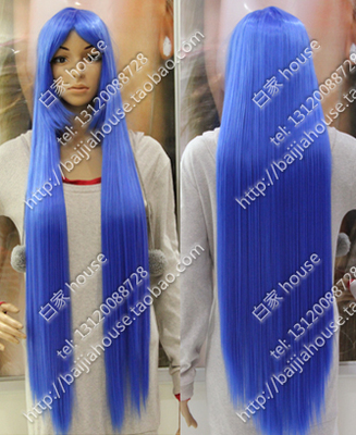 Free shipping COS wig blue 40 inches Fashion girl long straight hair modelling(China (Mainland))