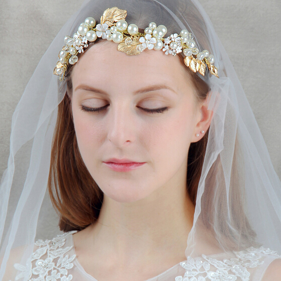 The new golden handmade pearl bridal hair accessories wedding accessories bridal Headpiece vinatge headbands women tiara(China (Mainland))