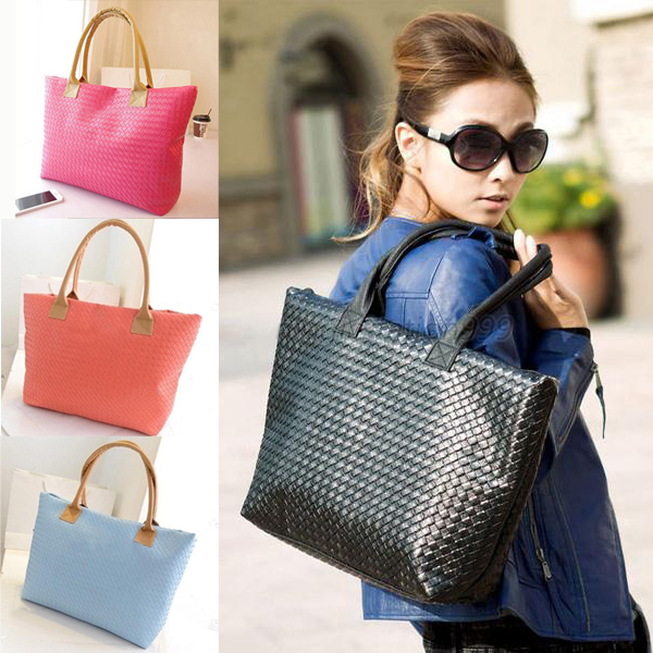 Free Shipping Women Lady Vintage Chain Knit Soft Square Casual Clutch PU Leather Handbag Shoulder Bag Black/Blue/Red(China (Mainland))