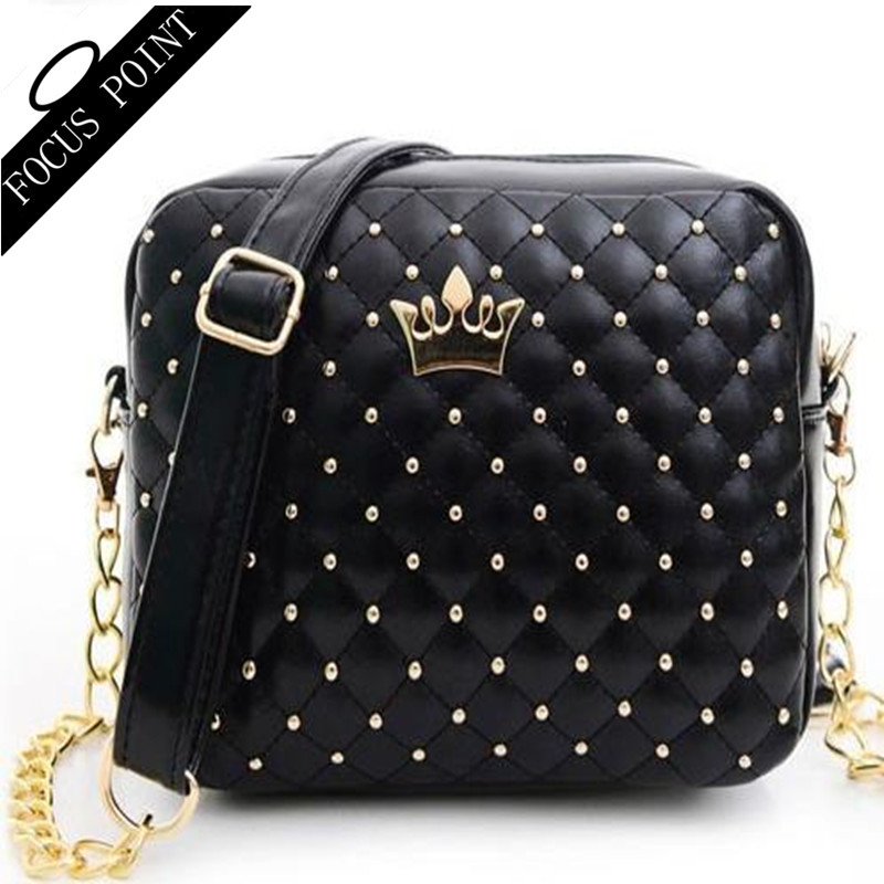 Good 2015 Fashion Women Bag Ladies brand Small women Messenger Bags Chain Rivet womans leather handbag Cross body Shoulder bag(China (Mainland))