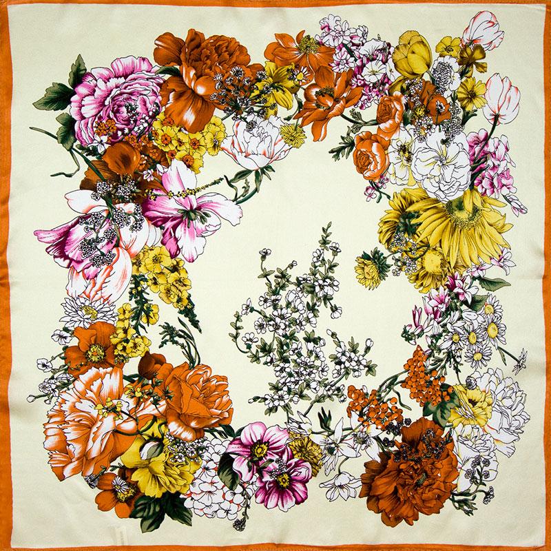 100% Silk Scarf Women Scarf Flower Neckerchief Scarf Silk Bandana 2016 Foulard Headband Small Square Silk Scarf Hot Luxury Gift(China (Mainland))