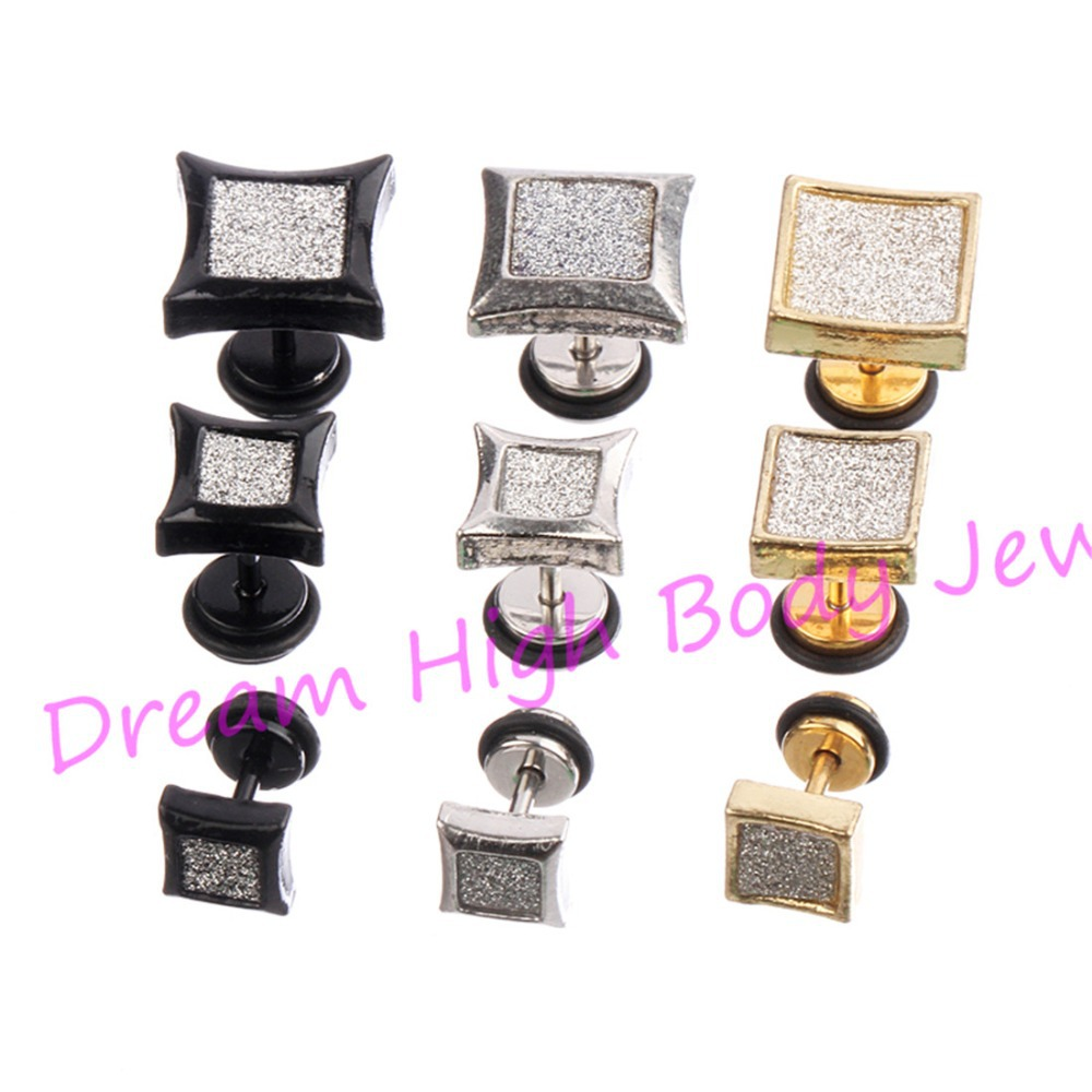 Barbell Earring Frosted 316L Stainless Steel Crystal Black Gold 6mm 8mm 11mm Men Ear Stud Women Fashion Jewelty 6 - Dream High Body Jewelry store