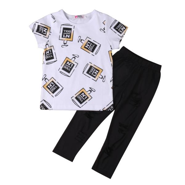 Summer Style Kids Girls Clothes Fashion Cool Short Sleeve T-shirt + hole black pants Leggings 2pcs Hot Sell Girl Outfits Set(China (Mainland))