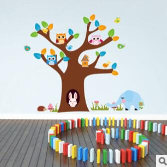 Дерево и кролик слон совы стикер детская комната наклейки для стен поделки питомник hoom детской комнаты декор 1022