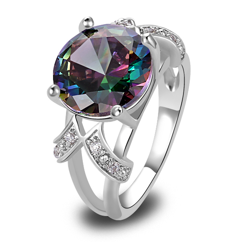 Free Shipping Mystic Rainbow Topaz White Sapphire 925 Silver Ring Fashion Women Party Jewelry Size 6 7 8 9 10 11 12 13 Wholesale(China (Mainland))
