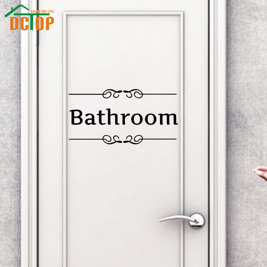 DCTOP Bathroom Door Sign Black Vinyl Wall Stickers Adhesive Stickers Removable Door Decal Toliet Wall Decals Home Decor(China (Mainland))