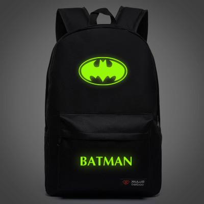 Batman / Iron Man Cosplay Leopard print Cartoon Anime Backpack noctilucence Canvas Schoolbag<br><br>Aliexpress