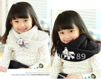 Wholesale 4 Colors 10 pcs/lot Children Cartoon Bear Scarf Girl's Fashion Ring Scarf Boy Knitted Scarf Baby Winter Warm O Scarf