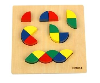 Free Shipping!Kid Advance Montessori Learning Toys Pattern Blocks and Boards Geometric Assembling Blocks Educational