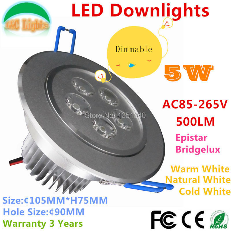 Free Shipping Dimmable 5W LED Downlights 500LM Restaurant Lamps CE RoHS LED Energy Saving Light Warm White / Cold White 4PCs/Lot(China (Mainland))