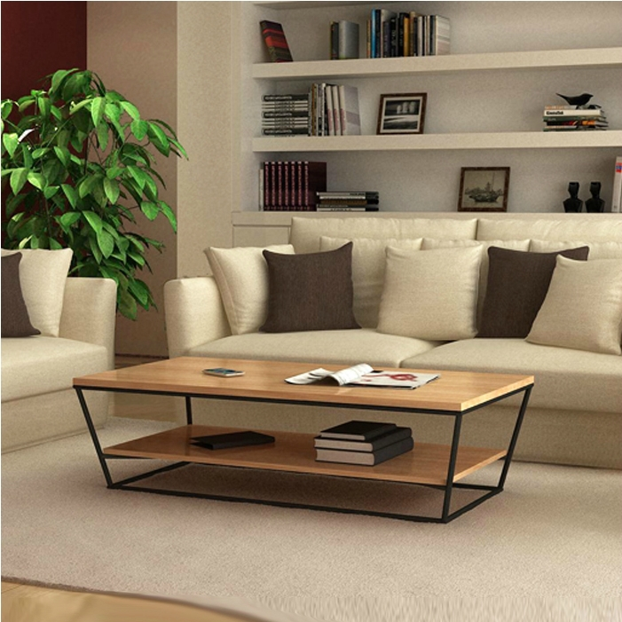 New Nordic IKEA Creative Designer Furniture Wrought Iron Wood Coffee Table T