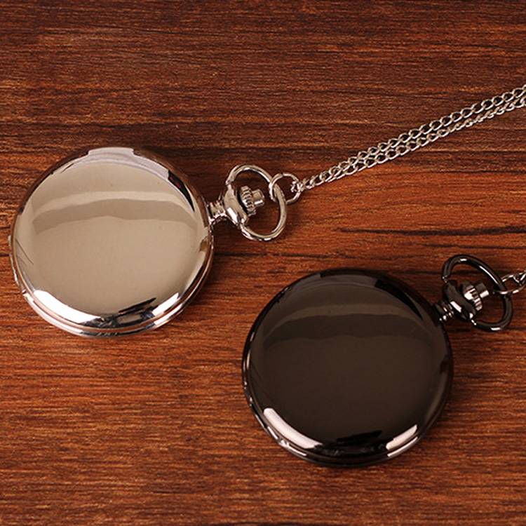 2015 Fashion New Arrvial Classic Smooth Vintage Black Silver Steel Women Mens Arabic Numbers Fob Pocket