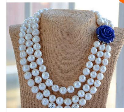 3strands 12mm almost round white screw thread freshwater pearl necklace Factory Wholesale price Women Gift word Jewelry<br><br>Aliexpress