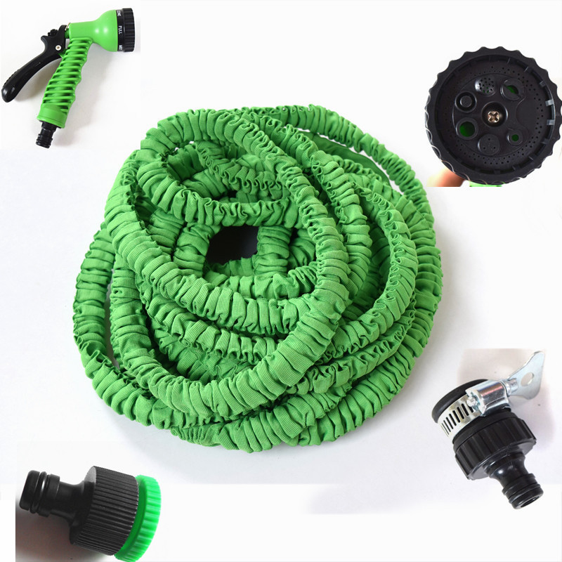 Universal 50FT / 75FT/100FT Garden hose Stretched hose watering Green Magic Expandable Garden Supplies Water Hose with Spray Gun