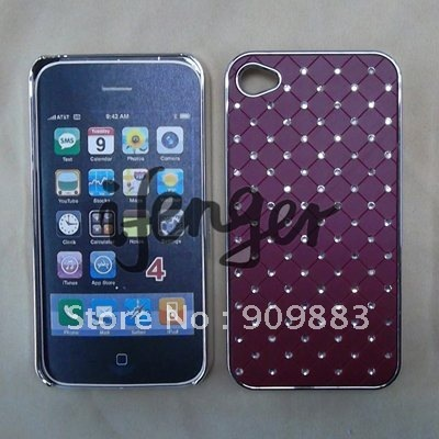 electroplating hard plastic with bling case for iphone 4G,4S,free shipping,100pcs/lot,cell phone cover,handphone cover