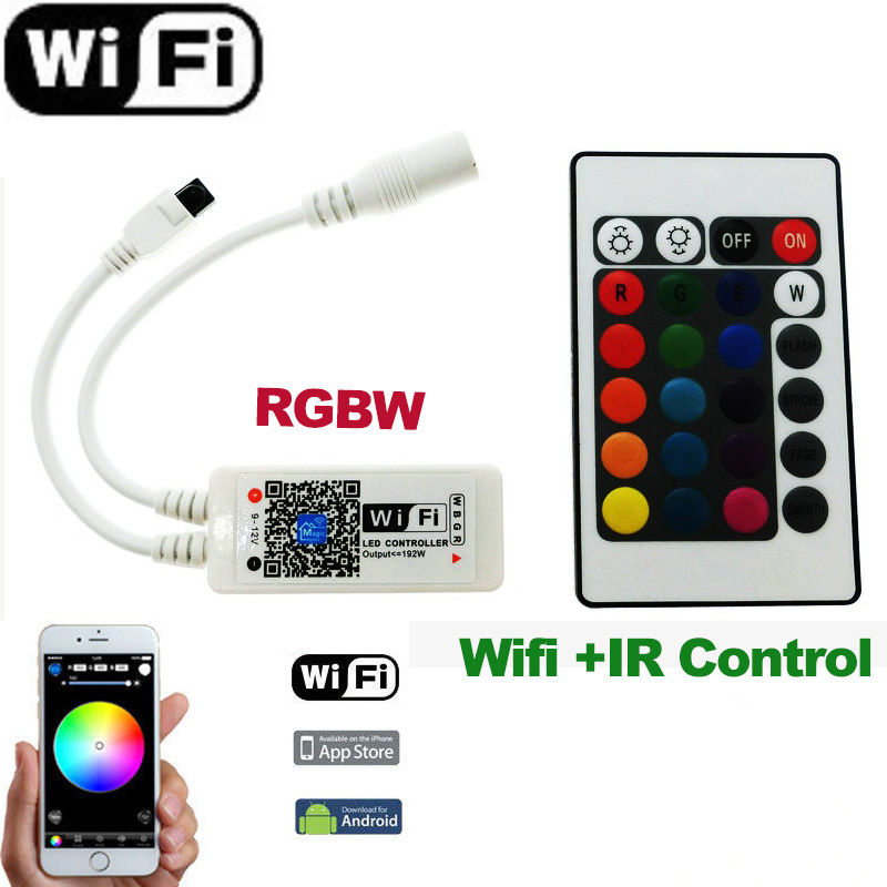 Wifi LED RGBW /RGB/ RGBWW Wireless Controller by IOS IPhone Android APP for 5050 Strip Light Lamps(China (Mainland))