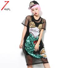 2016 summer women sexy street novelty black cartoon mermaid loose sequins straight mesh dress perspective dress(China (Mainland))