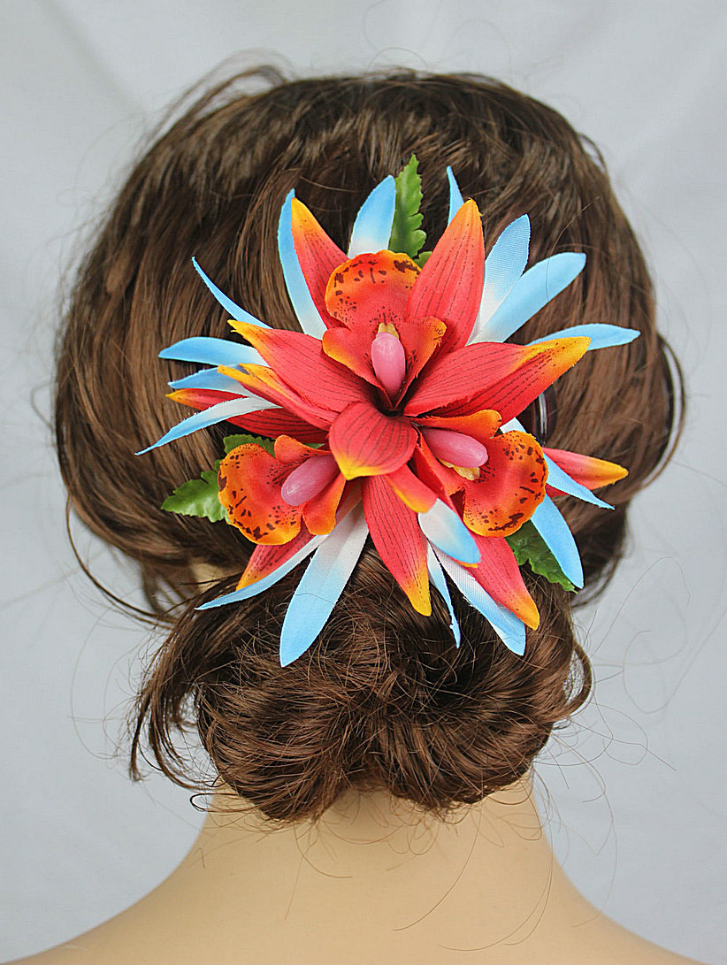 New FREE SHIPPING KL36201 50PCS/lot 10 colors mixted 12x12cm Felt spider lilies w orchides plastic hair clip Hawaii party(China (Mainland))