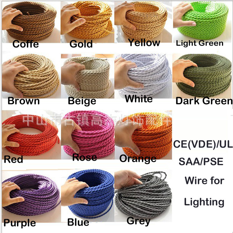 Copper Cord 2x0.75 Color Twisted Wire Retro Braided Electrical Wire Fabric Wire DIY pendant lamp wire vintage lamp Wire