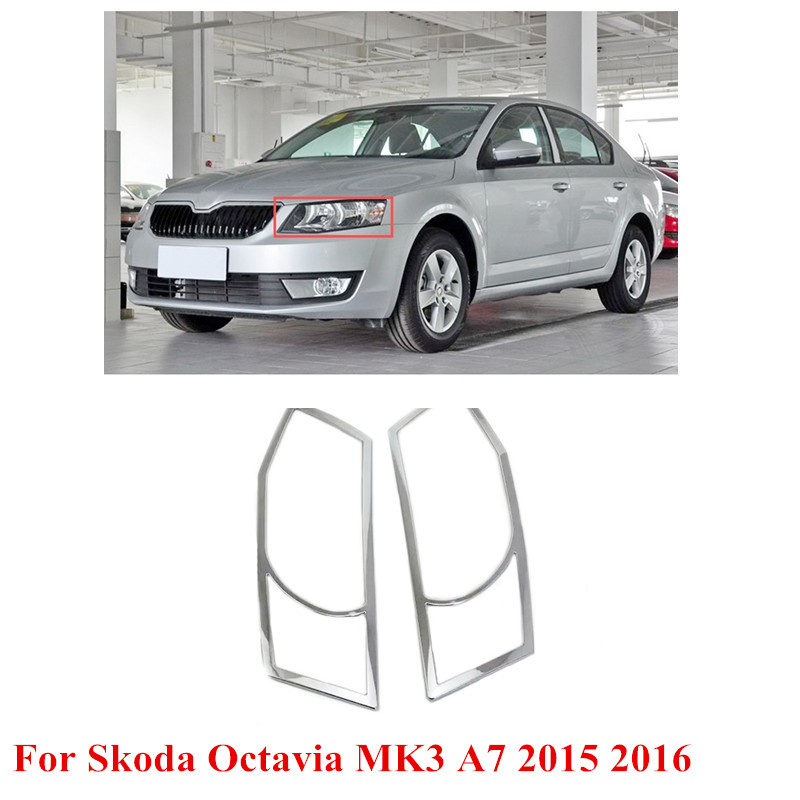 2pcs ABS Car Front Headlight Bulb Cover Trim For Skoda Octavia MK3 A7 2015 2016 <br><br>Aliexpress