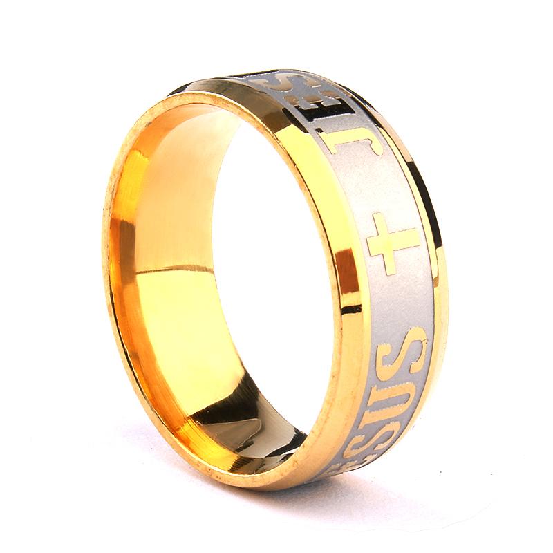 New Arrival Unisex Jesus Ring Stainless Steel Cross Rings