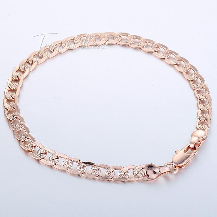 5mm 20 3cm Cut Hammered Flat Curb Mens Boys Chain Rose Gold Filled Bracelet Bulk Sale