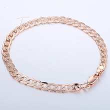 5mm Cut Hammered Flat Curb Cuban Mens Boys Chain 18K Rose Gold Filled Bracelet 18KGF Wholesale Jewelry Promotion Gift GB251